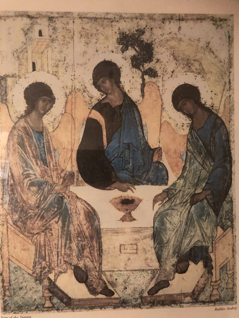 Holy Trinity Icon of 3 Angels eating a meal by Andrei Rublev