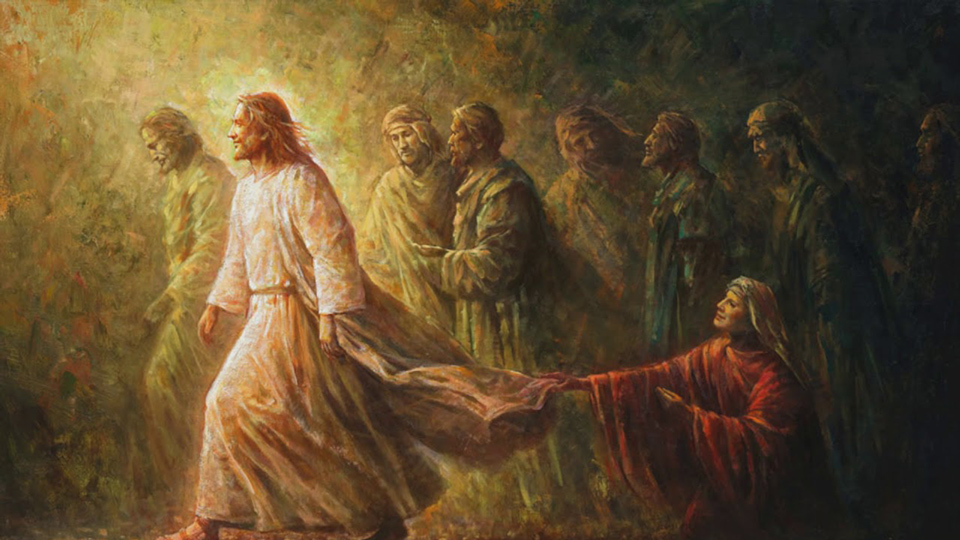 Woman touches the robe of Jesus - painting